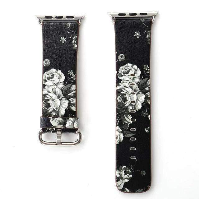 watches Black Gray / 38mm/40mm Apple Floral flower watch band, Print Smart iWatch strap, 44mm, 40mm, 42mm, 38mm, Series 1 2 3 4