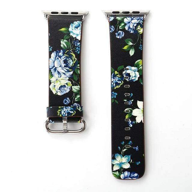 watches Black Green / 38mm/40mm Apple Floral flower watch band, Print Smart iWatch strap, 44mm, 40mm, 42mm, 38mm, Series 1 2 3 4