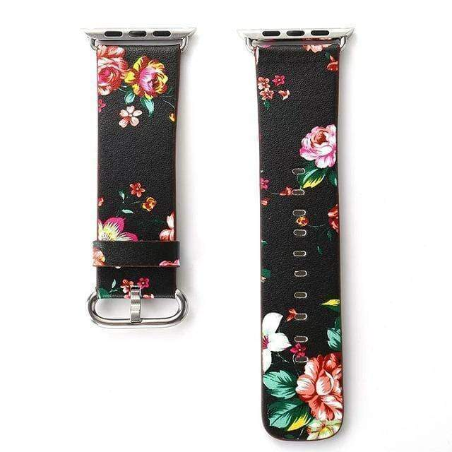 watches Black Red / 38mm/40mm Apple Floral flower watch band, Print Smart iWatch strap, 44mm, 40mm, 42mm, 38mm, Series 1 2 3 4