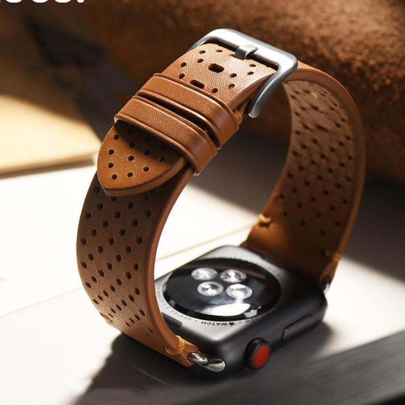 Watches Breathable Apple Watch Bands 44mm/ 40mm/ 42mm/ 38mm Series 1 2 3 4 iWatch genuine cow leather watchbands watch accessory bracelet