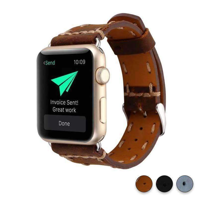 Watches Brown / 38mm / 42mm Apple Watch Series 5 4 3 2 Band, Handmade Vintage tooled Genuine Leather Strap 38mm, 40mm, 42mm, 44mm - US Fast Shipping