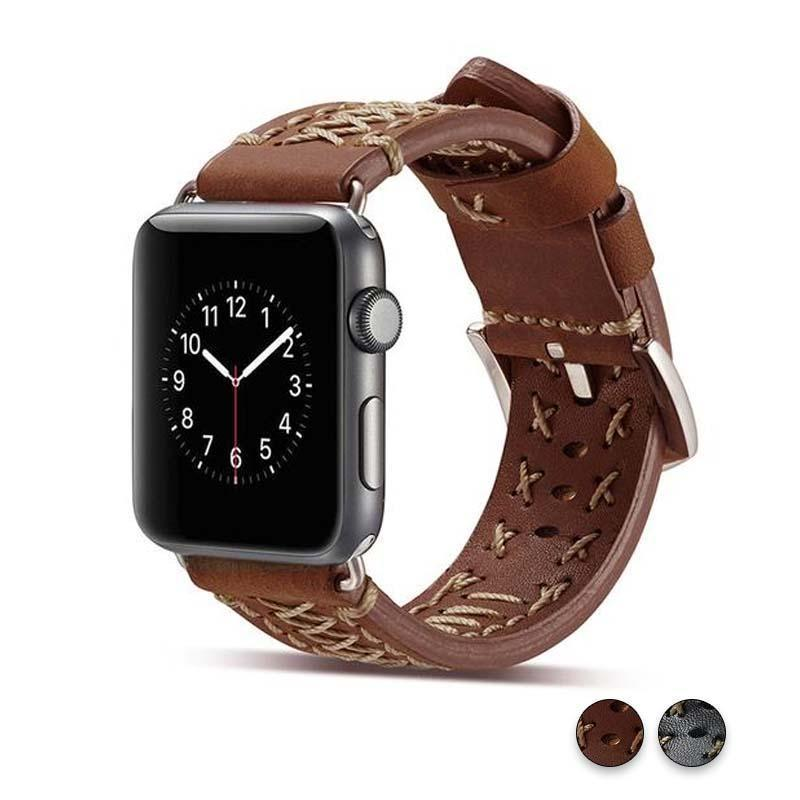 Watches Brown / 42mm / 44mm Apple Watch Series 5 4 3 2 Band, Vintage Handmade Genuine Leather Strap Thread Bracelet 38mm, 40mm, 42mm, 44mm