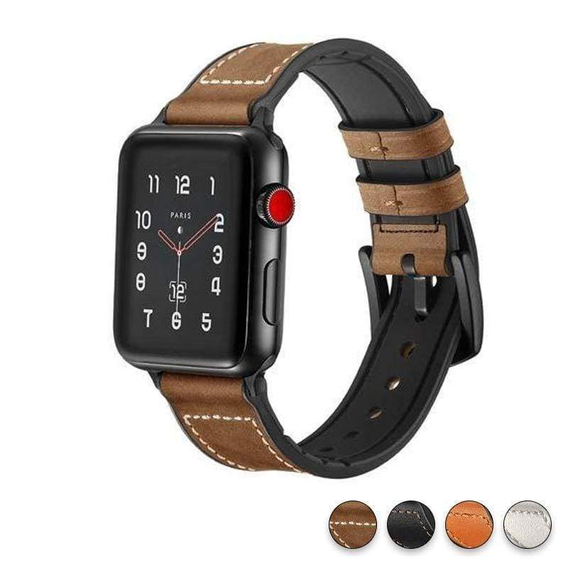Watches Dark brown / 38mm / 40mm Apple Watch Series 5 4 3 2 Band, Leather over Silicone Apple watch band strap 38mm, 40mm, 42mm, 44mm - US Fast Shipping