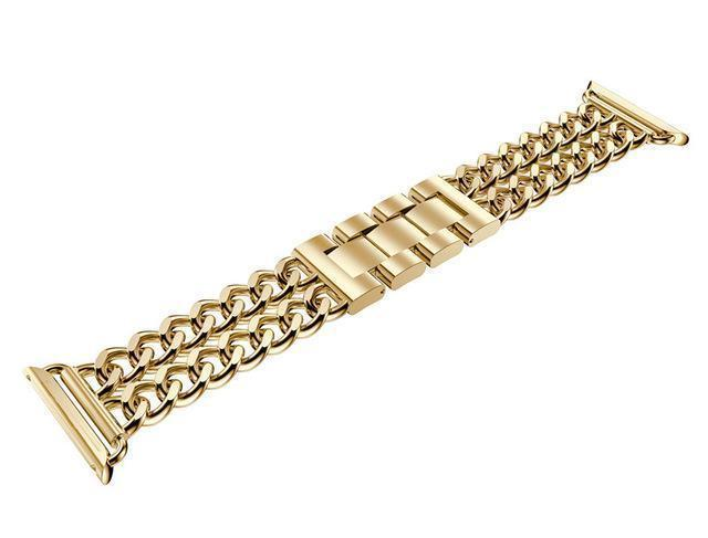 Watches Gold / 38mm / 40mm (EBAY LISTING) Apple Watch Series 5 4 3 2 Band, Double Chain link Bracelet Stainless Steel Metal iWatch Strap, 38mm, 40mm, 42mm, 44mm