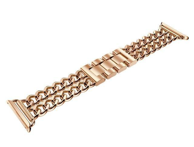 Watches Rose Gold / 38mm / 40mm (EBAY LISTING) Apple Watch Series 5 4 3 2 Band, Double Chain link Bracelet Stainless Steel Metal iWatch Strap, 38mm, 40mm, 42mm, 44mm