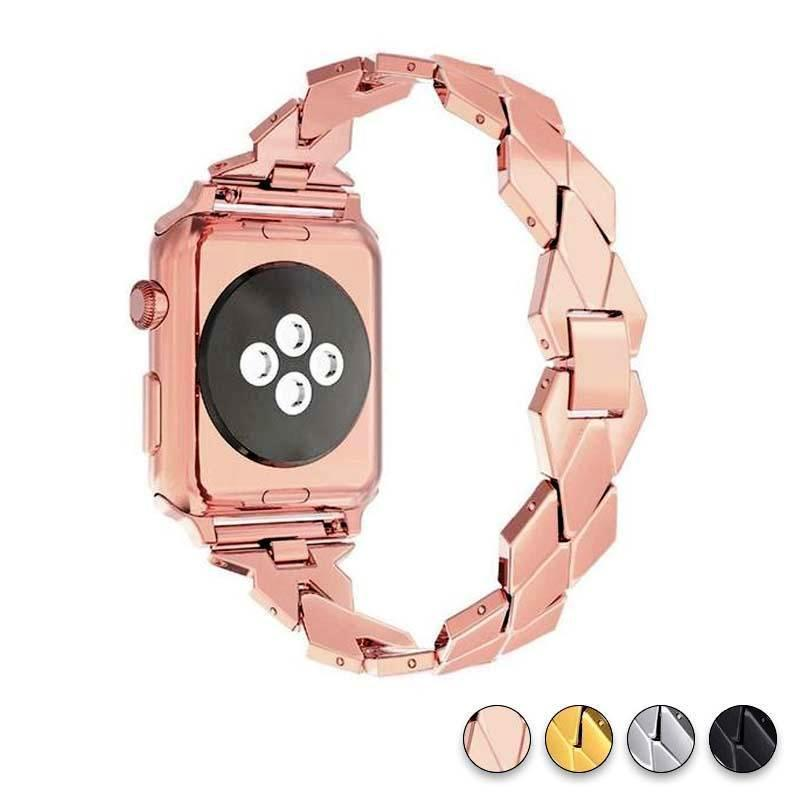 Watches rose gold / 38mm / 40mm Apple Watch Series 5 4 3 2 Band, Stainless Steel Strap Diamond shape, link bracelet wrist band,  38mm, 40mm, 42mm, 44mm - USA Fast Shipping