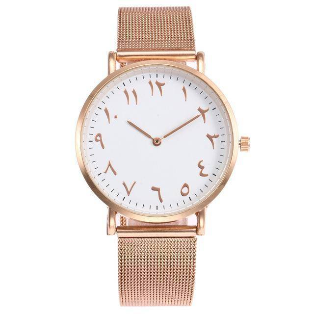 watches rose gold Arabic Numbers Stainless Steel minimalist Watch