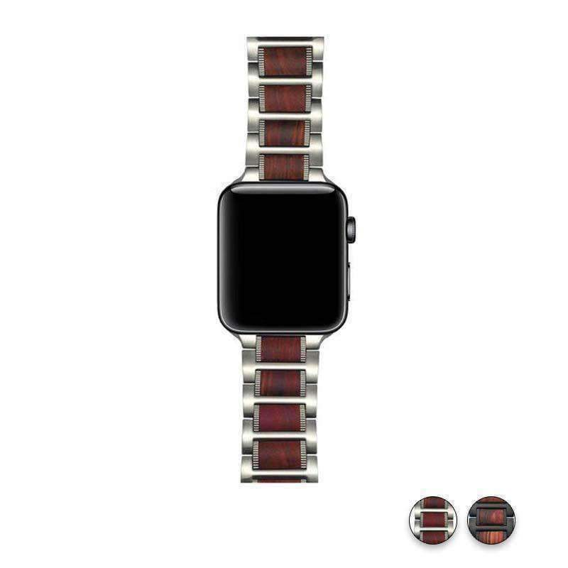 Watches Silver / 38mm / 40mm Apple Watch Series 5 4 3 2 Band, Natural Red Sandalwood Stainless Steel Bracelet Wooden Strap 38mm, 40mm, 42mm, 44mm - US Fast shipping