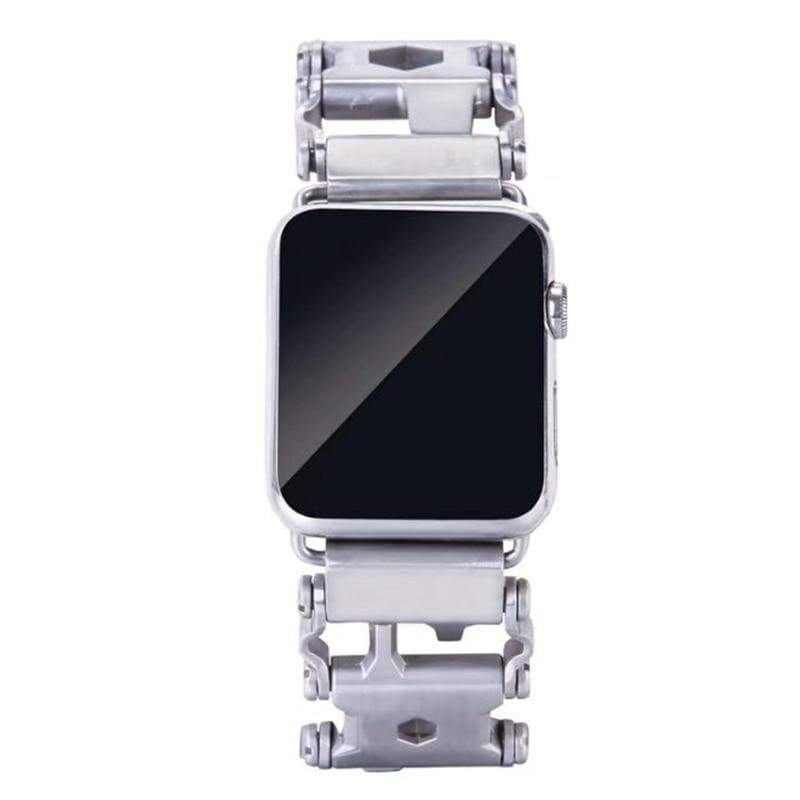 Watches Silver / 38mm / 40mm Apple Watch Series 5 4 3 2 Band, Stainless Steel, 22 multi function tools, Unique Apple bracelet, fits 38mm, 40mm, 42mm, 44mm