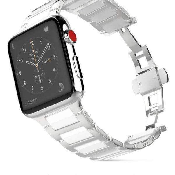 Watches Silver / 42mm/44mm Apple Watch ceramic bands 2, stainless Steel Watchband for iWatch 44mm/ 40mm/ 42mm/ 38mm Series 1 2 3 4