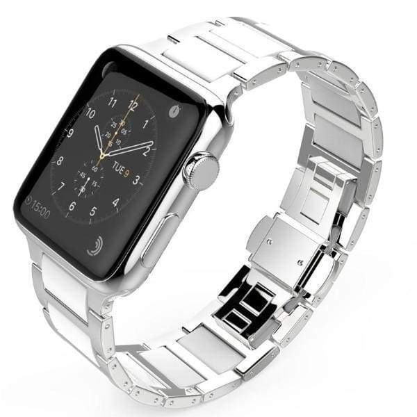 Watches Silver / 42mm / 44mm Apple Watch Series 5 4 3 2 Band, Ceramic Stainless Steel link Strap 38mm, 40mm, 42mm, 44mm - US Fast Shipping