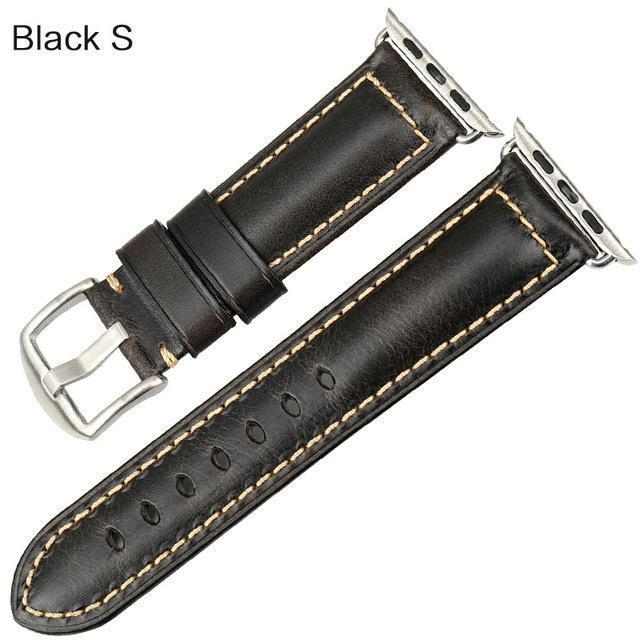 Watches Silver buckle with black leather / 38mm / 40mm Apple Watch Series 5 4 3 2 Band, Genuine Leather Band Oil Wax Strap 38mm, 40mm, 42mm, 44mm