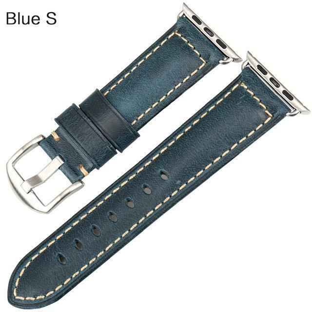Watches Silver buckle with blue leather / 38mm / 40mm Apple Watch Series 5 4 3 2 Band, Genuine Leather Band Oil Wax Strap 38mm, 40mm, 42mm, 44mm