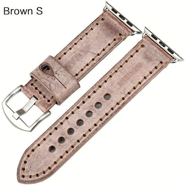 Watches Silver buckle with brown leather / 42mm / 44mm Apple Watch Series 5 4 3 2 Band, Green Genuine Leather Watchband Watch Accessories Bracelet Wristband 38mm, 40mm, 42mm, 44mm