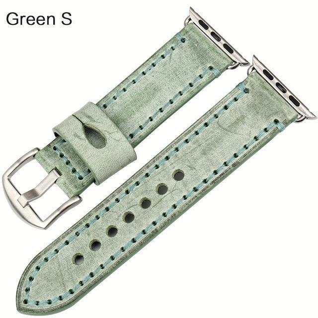 Watches Silver buckle with green leather / 42mm / 44mm Apple Watch Series 5 4 3 2 Band, Green Genuine Leather Watchband Watch Accessories Bracelet Wristband 38mm, 40mm, 42mm, 44mm