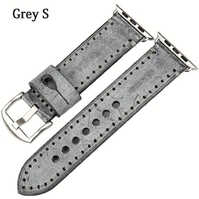 Watches Silver buckle with grey leather / 42mm / 44mm Apple Watch Series 5 4 3 2 Band, Green Genuine Leather Watchband Watch Accessories Bracelet Wristband 38mm, 40mm, 42mm, 44mm