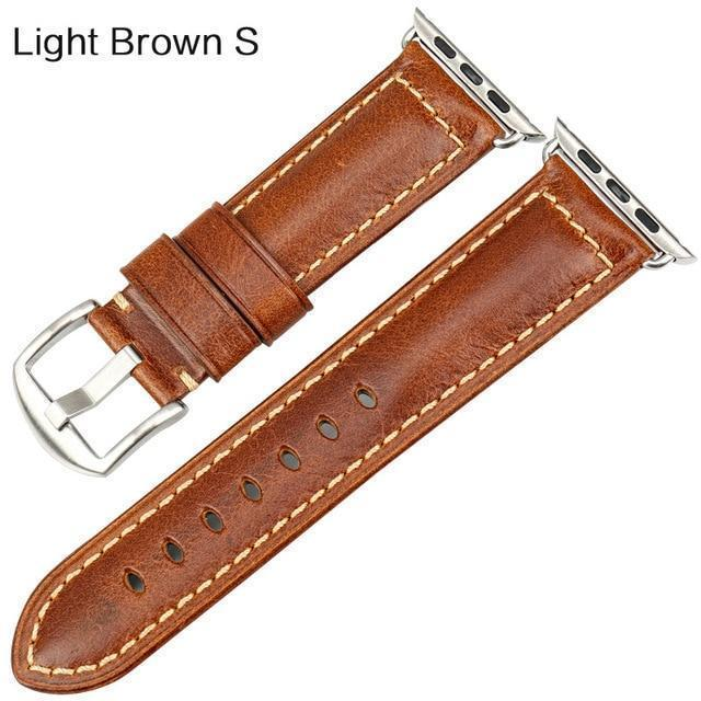 Watches Silver buckle with light brown leather / 38mm / 40mm Apple Watch Series 5 4 3 2 Band, Genuine Leather Band Oil Wax Strap 38mm, 40mm, 42mm, 44mm
