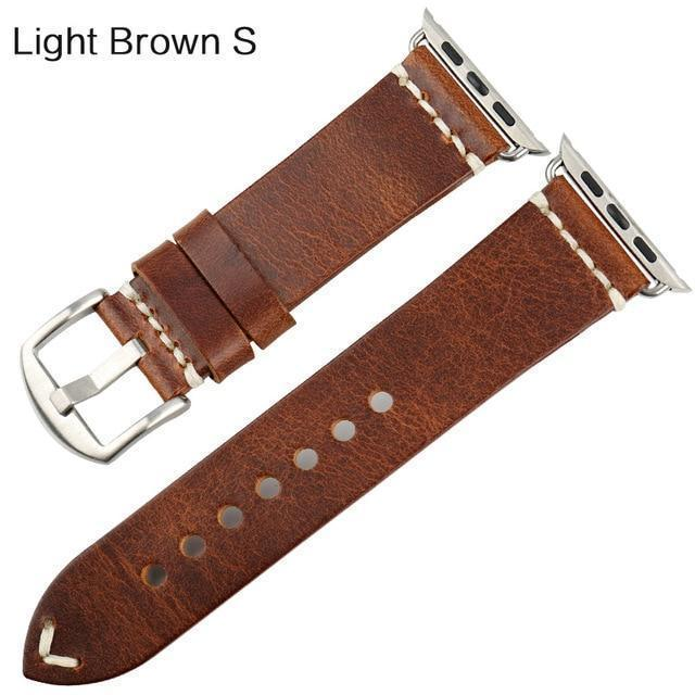 Watches Silver buckle with light brown leather / 42mm / 44mm Apple Watch Series 5 4 3 2 Band, Vintage Oil Wax Genuine Leather Strap 38mm, 40mm, 42mm, 44mm