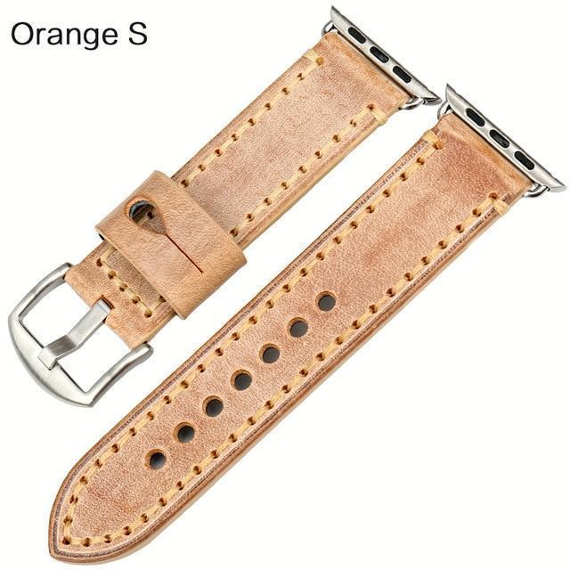 Watches Silver buckle with orange leather / 42mm / 44mm Apple Watch Series 5 4 3 2 Band, Green Genuine Leather Watchband Watch Accessories Bracelet Wristband 38mm, 40mm, 42mm, 44mm
