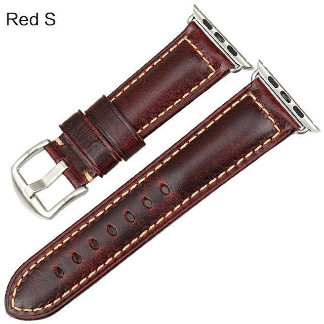 Watches Silver buckle with red leather / 38mm / 40mm Apple Watch Series 5 4 3 2 Band, Genuine Leather Band Oil Wax Strap 38mm, 40mm, 42mm, 44mm