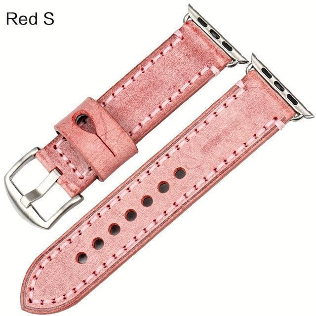 Watches Silver buckle with red leather / 42mm / 44mm Apple Watch Series 5 4 3 2 Band, Green Genuine Leather Watchband Watch Accessories Bracelet Wristband 38mm, 40mm, 42mm, 44mm