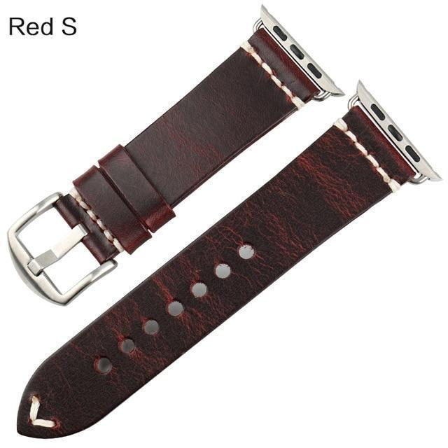 Watches Silver buckle with red leather / 42mm / 44mm Apple Watch Series 5 4 3 2 Band, Vintage Oil Wax Genuine Leather Strap 38mm, 40mm, 42mm, 44mm