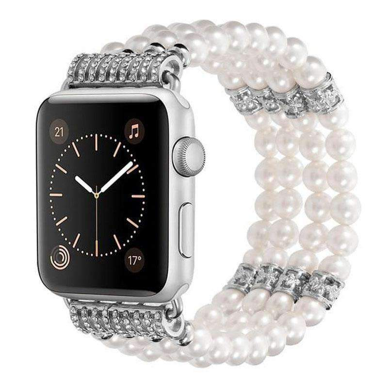 Watches White / 38mm / 40mm Apple Watch Series 5 4 3 2 Band, Bling Stretch strap, Bling Pearls fits 38mm, 40mm, 42mm, 44mm