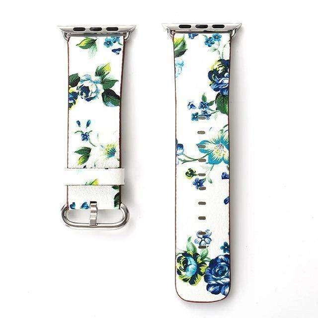 watches White Green / 38mm/40mm Apple Floral flower watch band, Print Smart iWatch strap, 44mm, 40mm, 42mm, 38mm, Series 1 2 3 4