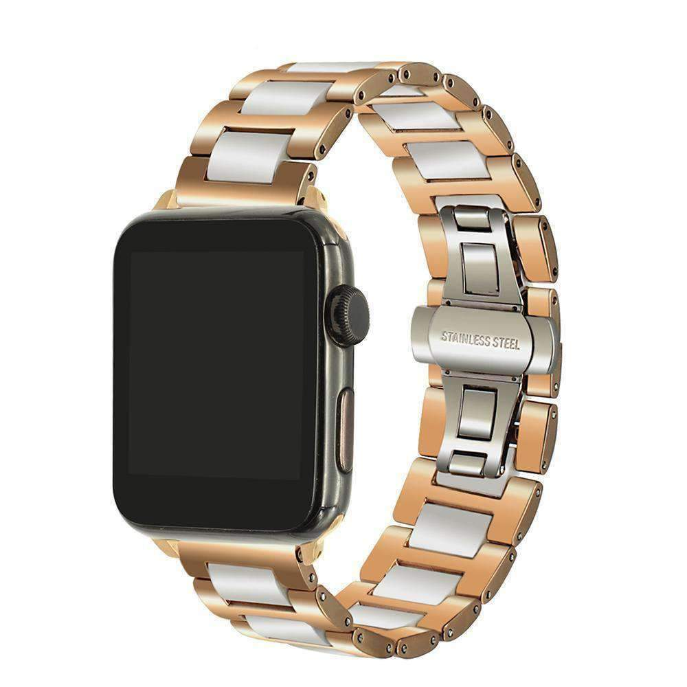 Watches White Rose Gold / 38mm/42mm Apple Watch ceramic bands 2, stainless Steel Watchband for iWatch 44mm/ 40mm/ 42mm/ 38mm Series 1 2 3 4