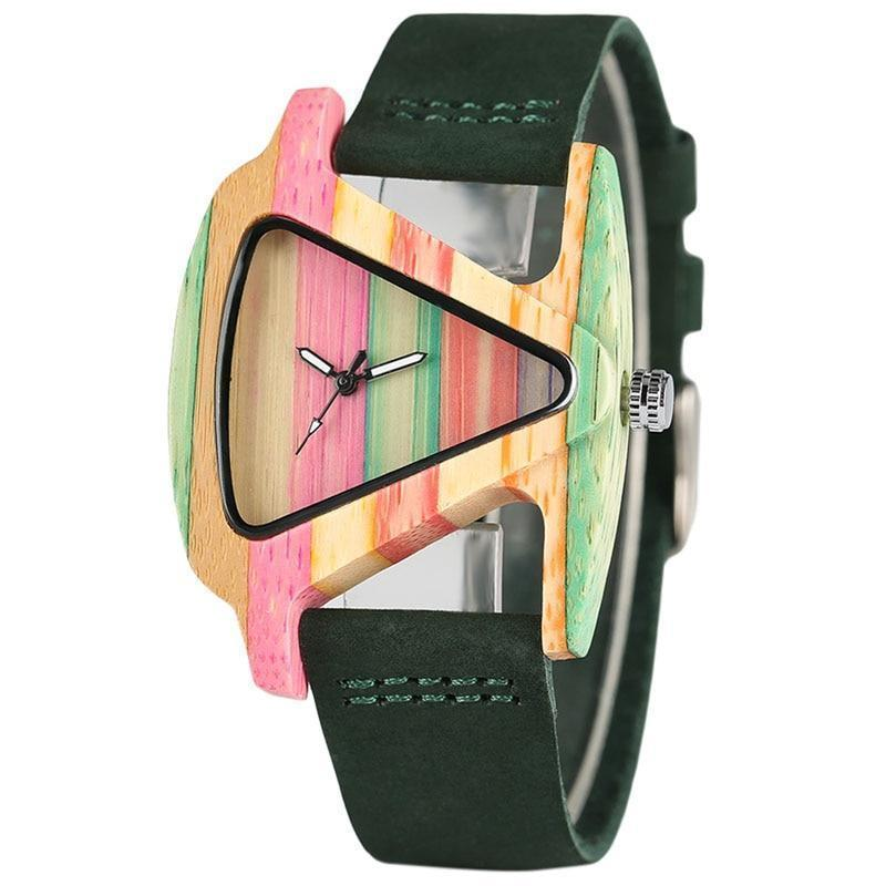 watches Women Wood Watches with leather band - Unique Colorful Wooden Triangle