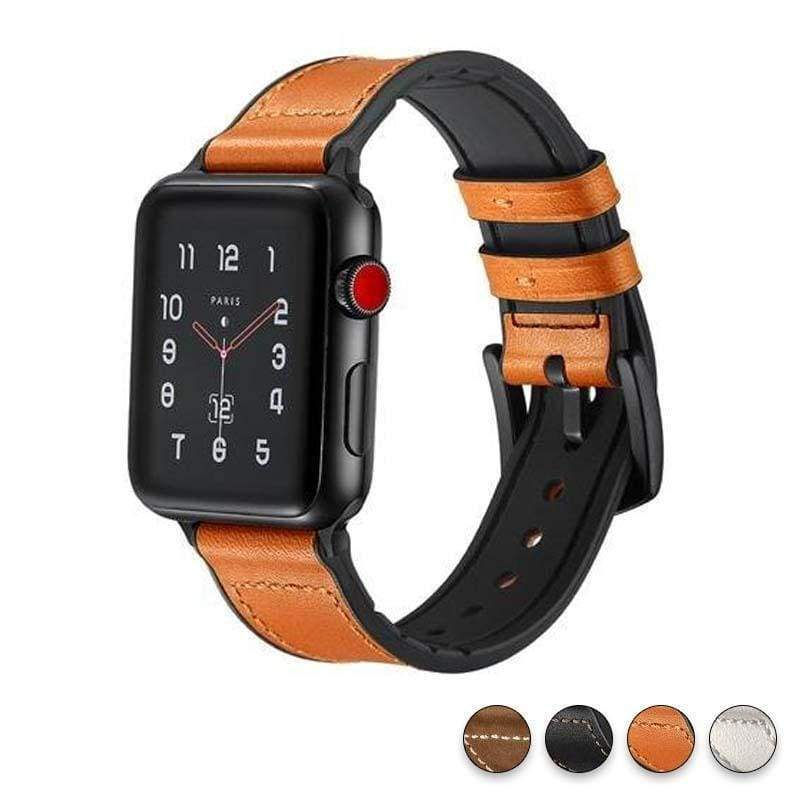 Watches Yellow / 38mm / 40mm Apple Watch Series 5 4 3 2 Band, Leather over Silicone Apple watch band strap 38mm, 40mm, 42mm, 44mm - US Fast Shipping
