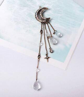 whats new Bronze Moon Crystal Dangle Drop Tassel Hair Clip