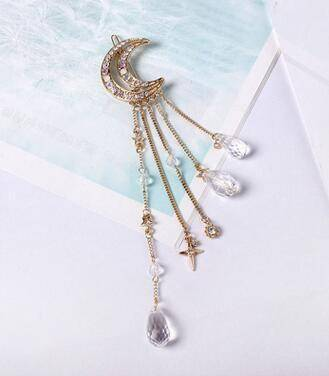 whats new Gold Moon Crystal Dangle Drop Tassel Hair Clip