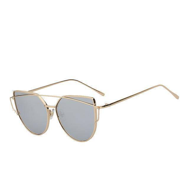 whats new Gold  w silver mir Cats Eye Mirror Shades Sunglasses