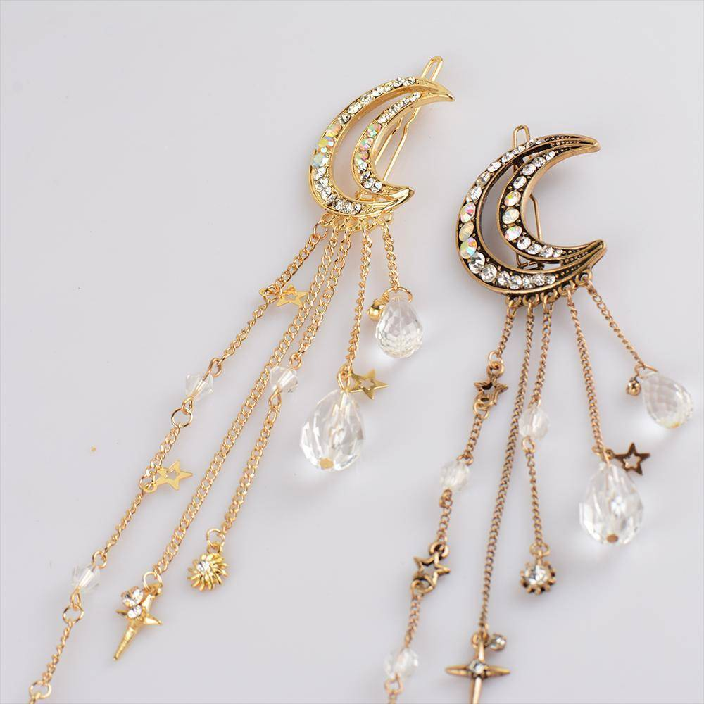 whats new Moon Crystal Dangle Drop Tassel Hair Clip