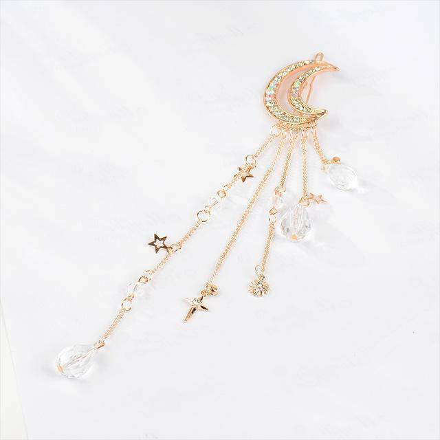 whats new Rose Gold Moon Crystal Dangle Drop Tassel Hair Clip