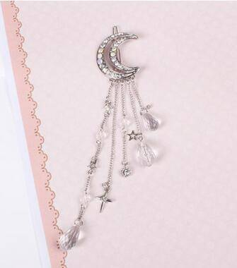 whats new Silver Moon Crystal Dangle Drop Tassel Hair Clip