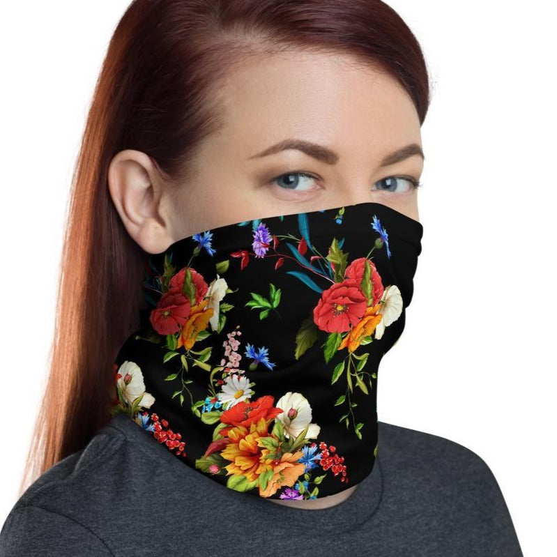 Wild Poppy Flower 12 in 1 Multi-functional Floral Face Cover black Scarf, Headband, Neck Gaiter mask Bandanna Balaclava- US Fast Shipping