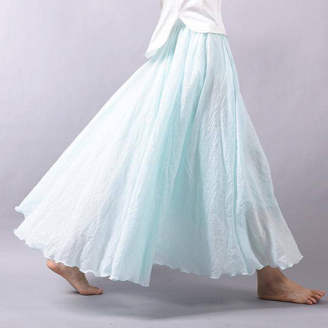 "women bottoms Aqua / M Sizes M - L, Fits 24""-37"" Waist, 12 Colors, Women Linen Cotton Vintage Long Boho Skirt"