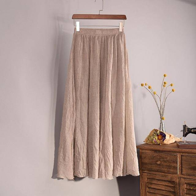 "women bottoms Beige / M Sizes M - L, Fits 24""-37"" Waist, 12 Colors, Women Linen Cotton Vintage Long Boho Skirt"