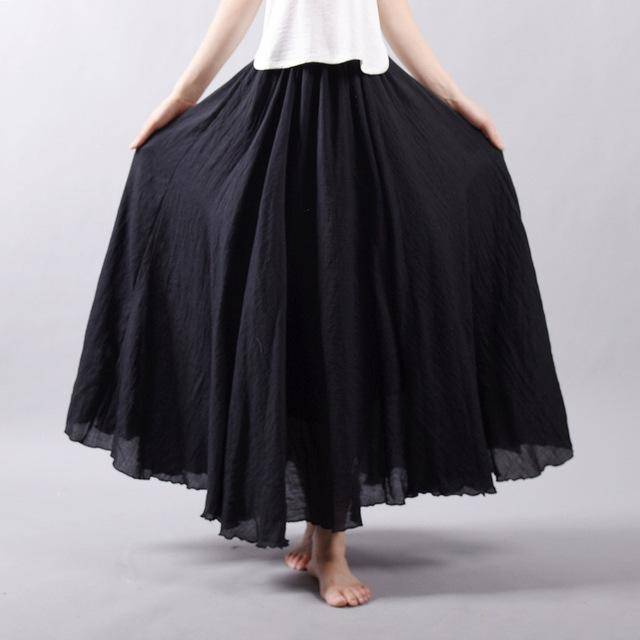 "women bottoms Black / M Sizes M - L, Fits 24""-37"" Waist, 12 Colors, Women Linen Cotton Vintage Long Boho Skirt"