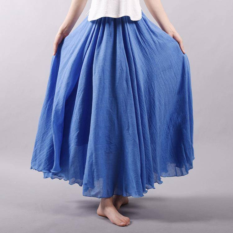 "women bottoms Blue / M Sizes M - L, Fits 24""-37"" Waist, 12 Colors, Women Linen Cotton Vintage Long Boho Skirt"