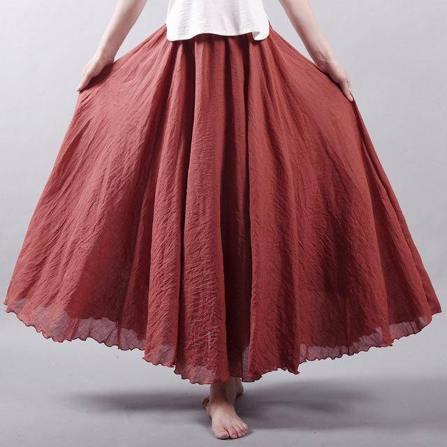 "women bottoms Crimson / M Sizes M - L, Fits 24""-37"" Waist, 12 Colors, Women Linen Cotton Vintage Long Boho Skirt"