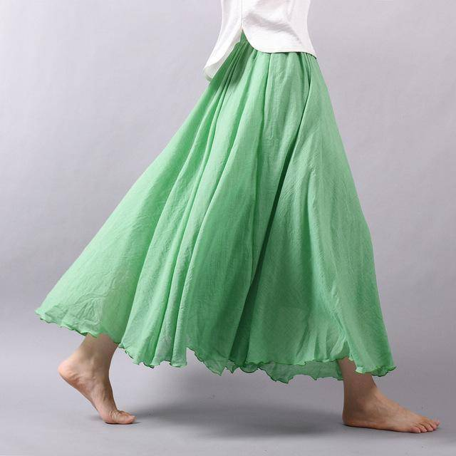 "women bottoms Green / M Sizes M - L, Fits 24""-37"" Waist, 12 Colors, Women Linen Cotton Vintage Long Boho Skirt"