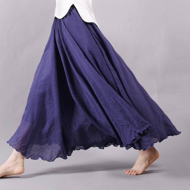 "women bottoms Navy / M Sizes M - L, Fits 24""-37"" Waist, 12 Colors, Women Linen Cotton Vintage Long Boho Skirt"