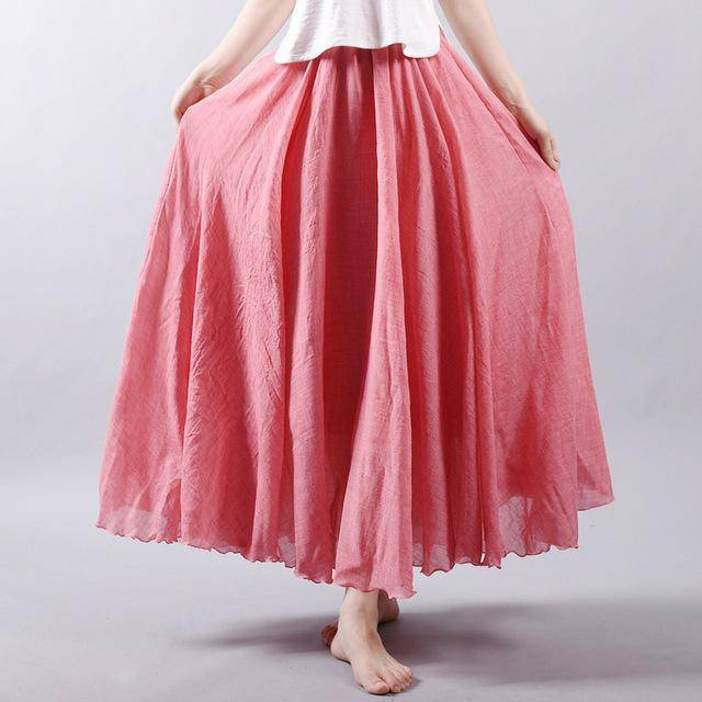 "women bottoms Pink / M Sizes M - L, Fits 24""-37"" Waist, 12 Colors, Women Linen Cotton Vintage Long Boho Skirt"
