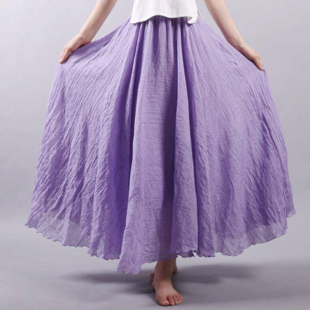 "women bottoms Purple / M Sizes M - L, Fits 24""-37"" Waist, 12 Colors, Women Linen Cotton Vintage Long Boho Skirt"
