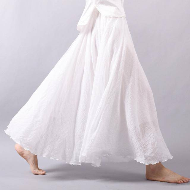 "women bottoms White / M Sizes M - L, Fits 24""-37"" Waist, 12 Colors, Women Linen Cotton Vintage Long Boho Skirt"