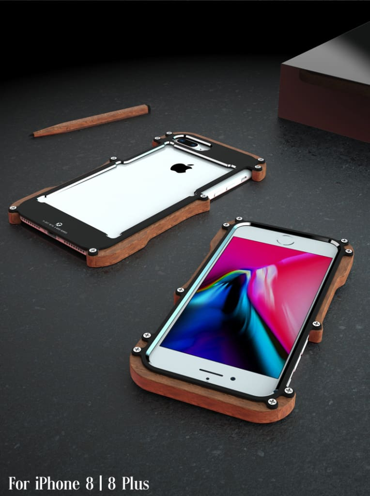 iPhone X 8 7 6 6S Plus 5 5S SE wood case metal bumper (4)
