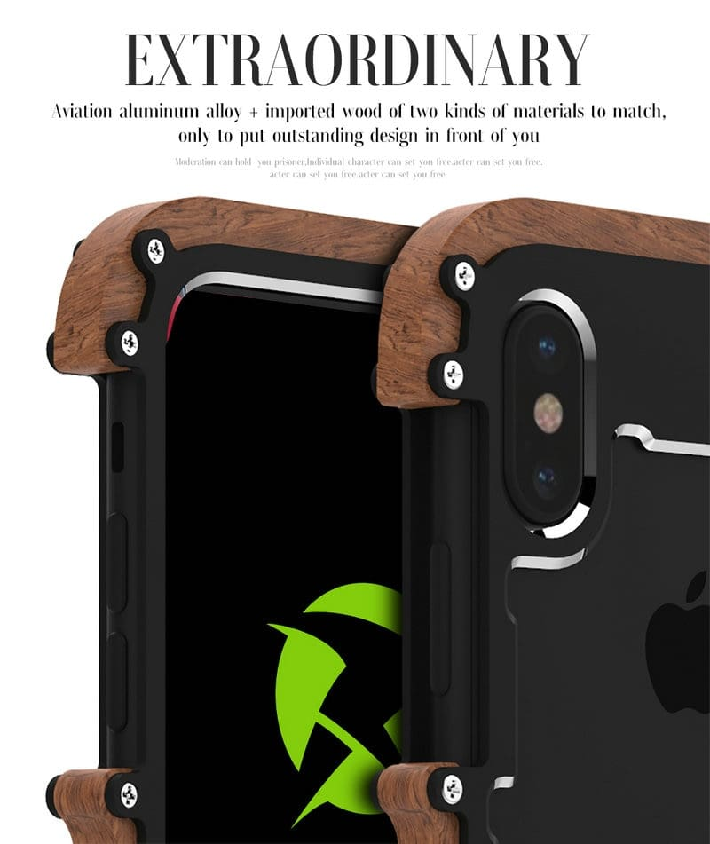 iPhone X 8 7 6 6S Plus 5 5S SE wood case metal bumper (11)